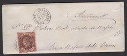 Pli De VILLAFRANCA De 1863 Avec 4 Cu Brun/Saumon Oblt Petit Cachet à Date Noir VILLAFRANCA BARCELONA Pour AVINONET - 1850-68 Royaume: Isabelle II