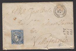 Pli De VENDERELL De 1866 Avec 4 Cu Bleu Dentelé Oblt Petit Cachet à Date Noir VENDERELL TARRAGONA Pour VILLAFRANCA - Cartas