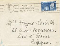 Lettre De L'Hôtel De Lorraine, Verdun (Meuse) Du 31/5/1950, Avec Timbre YT 842 (St Wandrille) Vers Bois-d'Haine Belgique - France