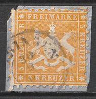 Timbres Allemagne Wurtemberg Yvert 22 De 1862 Oblitéré Sur Fragment - Wuerttemberg