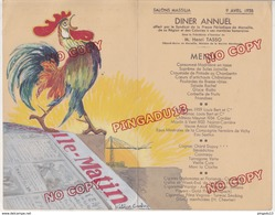 Au Plus Rapide Marseille Menu Presse Marseillaise 9 Avril 1938 Tasso Maire Journal Marseille Matin Illustrateur Coq - Menú
