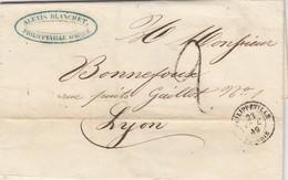 LETTRE. 23 DEC 49. ALGERIE. ALEXIS BLANCHET PHILIPPEVILLE POUR LYON. TAXE TAMPON 2 - 1849-1876: Période Classique