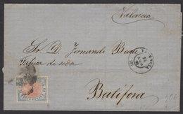 Pli De VALENCIA De 1868 Avec 25 Mil De Escudo  Bleu Et Rose Oblt Parilla + Petit Cachet à Date Noir VALENCIA P BATIFORA - 1850-68 Royaume: Isabelle II