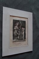 Ancienne Gravure De Sainte Cécile,Dominiquin,gravé Par V.Dagues,dessiné Par Bourdon,école Italienne,28 Cm/23 Cm. - Gravures