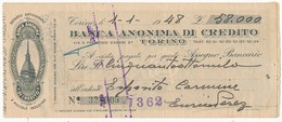 1948 TORINO ASSEGNO BANCA ANONIMA DI CREDITO - Chèques & Chèques De Voyage