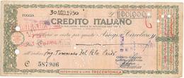 1950 ASSEGNO CREDITO ITALIANO FILIALE FOGGIA - Cheques & Traveler's Cheques