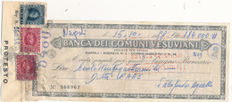 1958 BANCA DEI COMUNI VESUVIANI ASSEGNO - Cheques & Traveler's Cheques