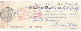 1960 ROCCAPIEMONTE SALERNO ASSEGNO CASSA RURALE ED ARTIGIANA - Cheques & Traveler's Cheques