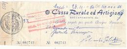 1960 ROCCAPIEMONTE SALERNO ASSEGNO CASSA RURALE ED ARTIGIANA - Chèques & Chèques De Voyage