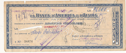 1947 BANCA D'AMERICA E D'ITALIA ASSEGNO - Cheques & Traveler's Cheques