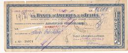 1947 BANCA D'AMERICA E D'ITALIA ASSEGNO - Chèques & Chèques De Voyage