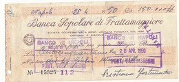 1950 BANCA POPOLARE DI FRATTAMAGGIORE ASSEGNO - Chèques & Chèques De Voyage