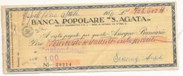 1954 BANCA POPOLARE S AGATA ASSEGNO - Chèques & Chèques De Voyage