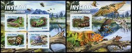S. TOME & PRINCIPE 2016 - American Insects - YT CV=36 €, 5395-8 + BF950 - Insectes