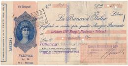1939 ASSEGNO BANCA D'ITALIA FILIALE BENGASI CON MARCA DA BOLLO CENT 25 - Cheques & Traveler's Cheques