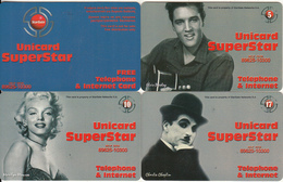 GREECE - Elvis-Marylin-Chaplin, Unicard Superstar, Set Of 4 Stargate Prepaid Cards, Tirage 500-6000, Samples - Telefonkarten