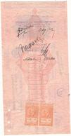 1939 ASSEGNO BANCA D'ITALIA FILIALE DI PONTEDERA + MARCHE DA BOLLO COLONIE 2 X01,0 NUOVE - Chèques & Chèques De Voyage