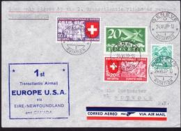 1939 1. Transatlantikflug Ab Genève Nach Botwood (New Foundland) - Luftpost