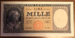 1000 LIRE Italia Medusa 11 02 1949 Raro Pressato Q.spl LOTTO 1033 - 1000 Lire