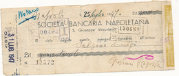 1947 SAN GIUSEPPE VESUVIANO SOCIETA' BANCARIA NAPOLETANA ASSEGNO - Chèques & Chèques De Voyage