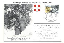 Glières Mars 1944 Un Guetteur Sur Le Plateau Hommage National Au Maquis 9-10 Avril 1994 - Cartoline Maximum