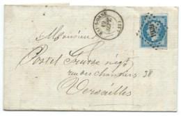 N° 14 BLEU NAPOLEON SUR LETTRE / NAY SUR ORNE POUR VERSAILLES / 19 SEPT 1862 - 1849-1876: Classic Period
