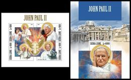 SIERRA LEONE 2017 - Pope John Paul II - YT CV=39 €, 7445-8 + BF1320 - Sierra Leone (1961-...)