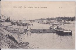 IVRY-SUR-SEINE - Le Port Et Le Pont De Conflans Péniche Grue - Ivry Sur Seine