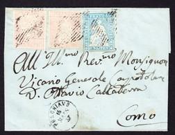 1857 Faltbrief Aus Poschiavo Nach Como. 2x 15 Rp Nr. 24F Und 1x 10 Rp. Nr. 23Ca Frankatur. - Lettres & Documents