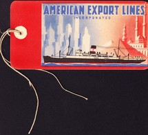 Um 1915 Kofferetikette American Export LInes, First Class Passager. Schiff. Ungebraucht - Other