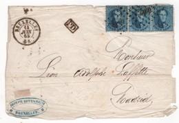 Voorkant Brief BRUXELLES  L60 Op OBP Nr.15a - Strip Van 3/bande De 3 - 14 JUIN 65 Naar Madrid - 1863-1864 Medallions (13/16)