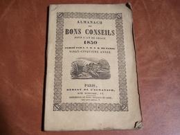 ALMANACH Des Bons Conseils , 1850, Environ 100 Pages - Kalender