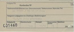 Bestätigung über Telegrammaufgabe Karlsruhe TF 1986 - BRD