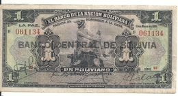 BOLIVIE 1 BOLIVIANO ND1929 VF P 112 - Bolivia