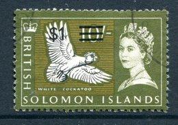 British Solomon Islands 1966 Decimal Currency Surcharges - Wmk. Sideways - $1 On 10/- Value Used (SG 151B) - Islas Salomón (...-1978)