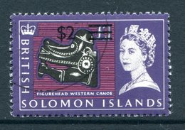 British Solomon Islands 1966 Decimal Currency Surcharges - Wmk. Sideways - $2 On £1 Value Used (SG 152B) - Islas Salomón (...-1978)
