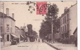 51 REIMS Avenue De Laon Façade Café , Au Petit Bazar ,tramway , Voiture ,circulée En 1927 - Reims