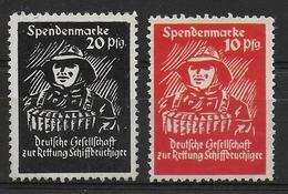 Deutsches Reich Spendenmarken Vignet Werbemarke Cinderella Advertisement Label Deutsche Gesellschaft Zur Rettung Schiff - Fantasie Vignetten