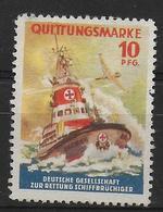 Deutsches Reich Quittungsmarke Vignet Werbemarke Cinderella Advertisement Label Deutsche Gesellschaft Zur Rettung Schiff - Fantasie Vignetten