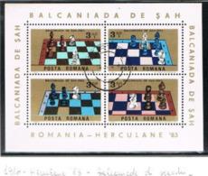 ROMANIA  - SG MS4845  - 1984  CHESS BALKANIADE   (BF) - USED  - RIF. CP. - Blocks & Kleinbögen