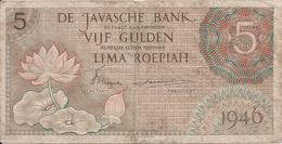 INDES NEERLANDAISES 5 GULDEN 1946 VF P 88 - Indes Neerlandesas
