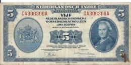 INDES NEERLANDAISES 5 GULDEN 1943 VF P 113 - Indes Neerlandesas