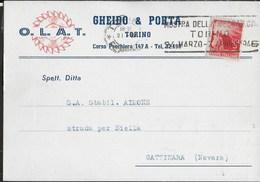 """ANNULLO A TARGHETTA""""MOSTRA DELLA MECCANICA TORINO"""" UFF. TORINO/FERROVIA 21.3.1946 SU CARTOLINA INTESTATA - 1946-60: Marcophilia"""