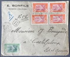 Cote D'Ivoire, N°44 Et 45 (x4) Sur Lettre Recommandée De TOUMODI 1916 Pour Casteljaloux - (W1581) - Briefe U. Dokumente