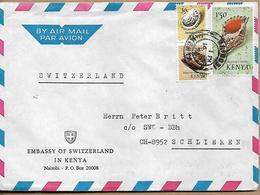 KENYA 1971 Cover Sent To Schlieren 3 Stamps (Sea Shells) COVER USED - Kenia (1963-...)