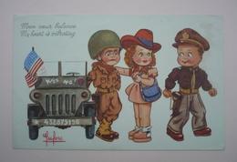 Superbe Carte - LECLERC  -  Mon Coeur Balance - My Heart Is Vibrating   - Kiss Me ! - Humour Militaire - Jeep - Leclerc
