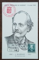 CM 1942 - YT N°545 - JULES MASSENET - SAINT ETIENNE + Cachet DAGUIN - 1940-49