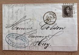 Pli Médaillon Dentelé 10c (une Dent De Coin Manquante) Liège Vers Huy Fabrique D'armes Et Quincaillerie H.Bodet Et F. S - 1863-1864 Medaglioni (13/16)