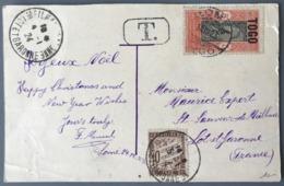 Togo N°104 Sur CPA 1923 De LOME Pour La France - Taxe N°29 + Griffe T.  - (W1587) - Brieven En Documenten