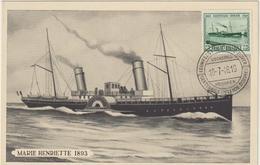 Carte Maximum BELGIQUE  N°Yvert 726 (NAVIRE Marie-Henriette) Obl Sp Centenaire Ostende 10.7.46 - Maximumkarten (MC)